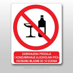 Naljepnica Zabranjena prodaja aloholnih pića