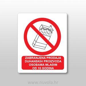 Naljepnica – zabranjena prodaja duhanskih proizvoda