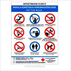 Tabla Pravila korištenja hidromasažne kade (jacuzzi)