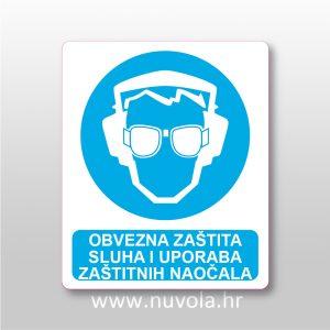 Obvezna zaštita sluha i uporaba zaštitnih naočala