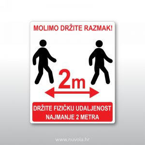 Molimo držite razmak 2 metra
