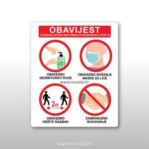 Obavijest o mjerama opreza zbog širenja koronavirusa