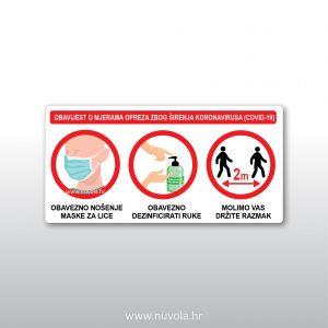 Obavijest o mjerama opreza zbog širenja koronavirusa 3