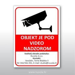 Tabla Objekt je pod video nadzorom GDPR