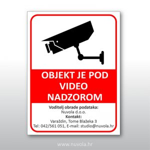 Tabla Objekt je pod video nadzorom GDPR