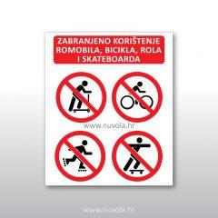 Zabranjeno korištenje romobila, rola, bicikla, skateboarda
